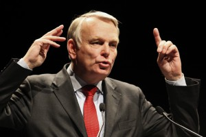 National Assembly Socialist group's President Jean-Marc Ayrault delivers a speech during a political rally for the upcoming regional elections in Nantes